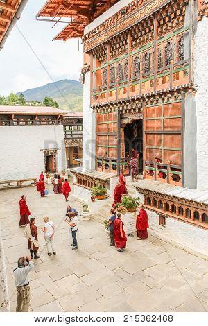Thimphu, Bhutan - September 11, 2016: People Visiting The Simtokha Dzong, Thimphu, Bhutan
