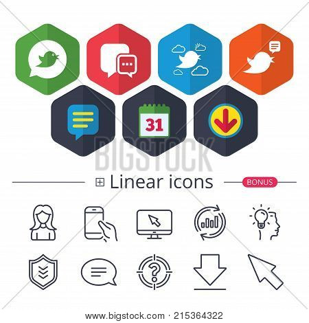 Calendar, Speech bubble and Download signs. Birds icons. Social media speech bubble. Chat bubble with three dots symbol. Chat, Report graph line icons. More linear signs. Editable stroke. Vector