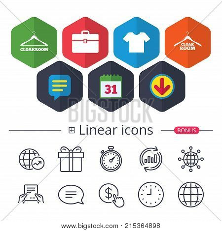Calendar, Speech bubble and Download signs. Cloakroom icons. Hanger wardrobe signs. T-shirt clothes and baggage symbols. Chat, Report graph line icons. More linear signs. Editable stroke. Vector