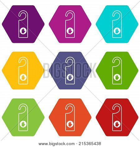 Do not disturb sign icon set many color hexahedron isolated on white vector illustration