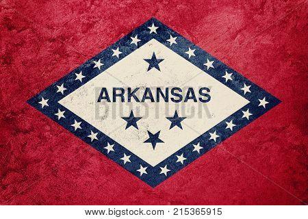 Grunge Arkansas State Flag. Arkansas Flag Background Grunge Texture.