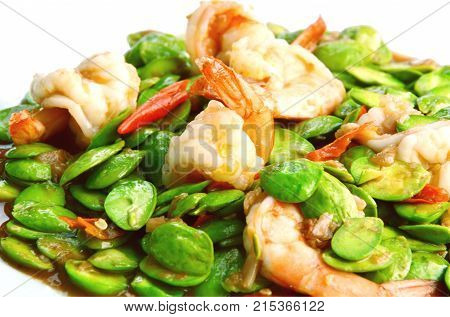 Stir Fried Shrimp with stink bean or bitter  bean and Shrimp Paste Southern Thai Style Food