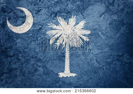 Grunge South Carolina State Flag. South Carolina Flag Background Grunge Texture.
