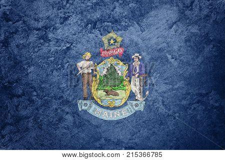 Grunge Maine State Flag. Maine Flag Background Grunge Texture.