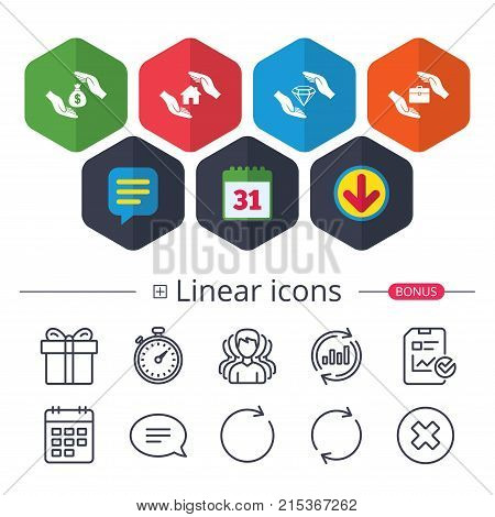 Calendar, Speech bubble and Download signs. Hands insurance icons. Money bag savings insurance symbols. Jewelry diamond symbol. House property insurance sign. Chat, Report graph line icons. Vector
