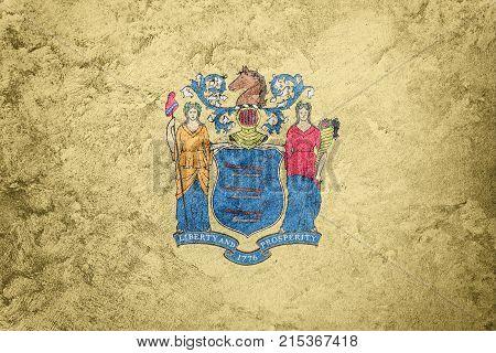 Grunge New Jersey State Flag. New Jersey Flag Background Grunge Texture.