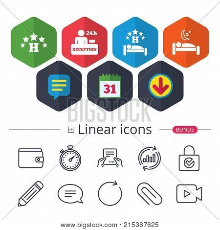 Calendar, Speech bubble and Download signs. Five stars hotel icons. Travel rest place symbols. Human sleep in bed sign. Hotel 24 hours registration or reception. Chat, Report graph line icons. Vector