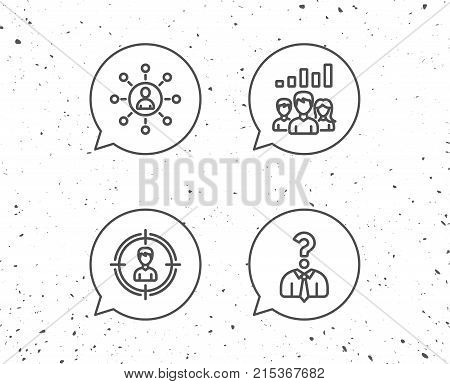 Speech bubbles with signs. Head hunting, Business Networking and Teamwork line icons. Get a Job, Communication and Team work results signs. Grunge background. Editable stroke. Vector