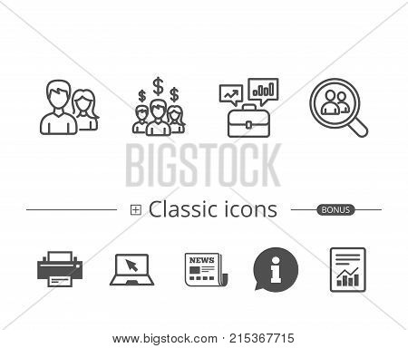Business Networking, Portfolio case and Find a Job line icons. Group, Earnings and Growth chart signs. Information speech bubble sign. And more signs. Editable stroke. Vector