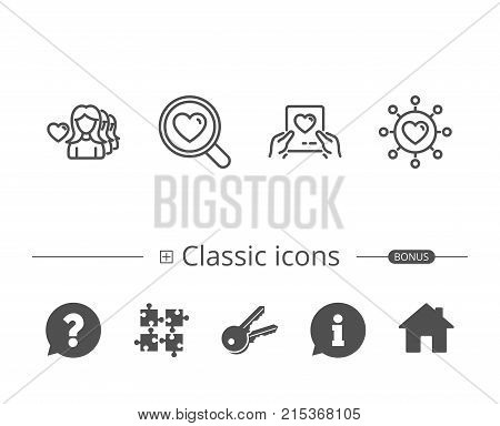 Heart, Love dating network and Search relationships line icons. Valentines day letter with heart signs. Information speech bubble sign. And more signs. Editable stroke. Vector