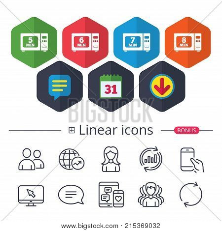 Calendar, Speech bubble and Download signs. Microwave oven icons. Cook in electric stove symbols. Heat 5, 6, 7 and 8 minutes signs. Chat, Report graph line icons. More linear signs. Editable stroke