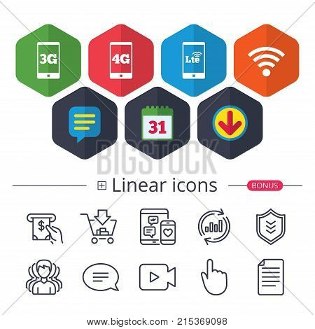 Calendar, Speech bubble and Download signs. Mobile telecommunications icons. 3G, 4G and LTE technology symbols. Wi-fi Wireless and Long-Term evolution signs. Chat, Report graph line icons. Vector