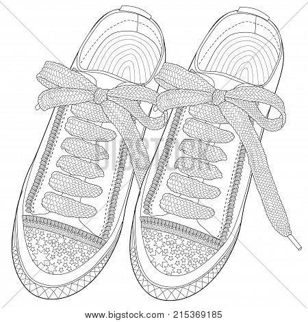 Coloring  page for adults. Sport shoes . Art Therapy. Line art illustration.