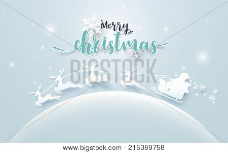 Santa Claus in a Sledge and Reindeer on moon with Merry Christmas text on soft blue background. Paper art and craft Style