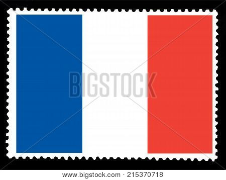 National flag of France on posted stamp.Official colors and proportion of flag of France. Vector illustration
