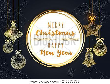 Merry Christmas And Happy New Year Greeting Gold Vintage Card, Christmas Balls And Bell. Vip, Luxury