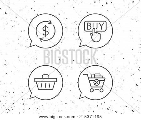 Speech bubbles with signs. Shopping cart, Buy button and Sale icons. Update currency symbol. Online buying. Grunge background. Editable stroke. Vector