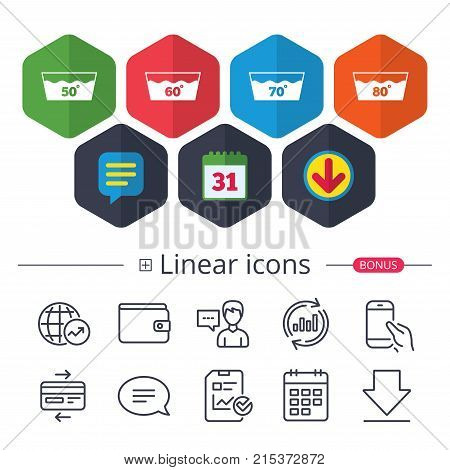 Calendar, Speech bubble and Download signs. Wash icons. Machine washable at 50, 60, 70 and 80 degrees symbols. Laundry washhouse signs. Chat, Report graph line icons. More linear signs. Vector
