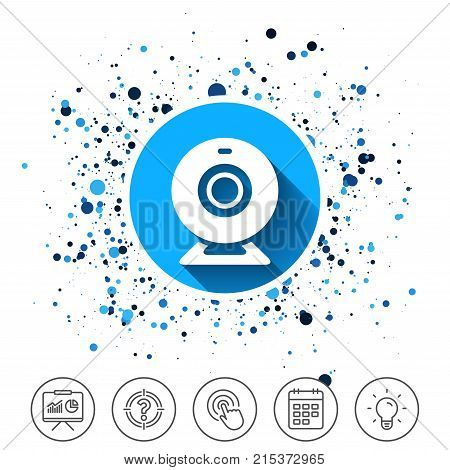 Button on circles background. Webcam sign icon. Web video chat symbol. Camera chat. Calendar line icon. And more line signs. Random circles. Editable stroke. Vector