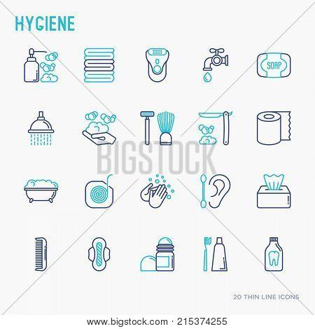 Hygiene thin line icons set: hand soap, shower, bathtub, toothpaste, razor, shaving brush, sanitary napkin, comb, ball deodorant, mouth rinse. Vector illustration.