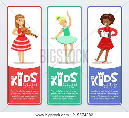 Set of vertical banners with teenager girls practicing arts, playing the violin and accordion, ballet dancing. Kids club promo. Happy extra-curricular activities. Flat cartoon vector illustration.