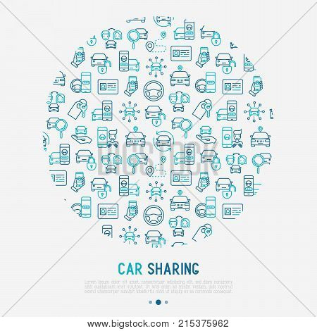 Car sharing concept in circle with thin line icons of driver's license, key, blocked car, pointer, available, searching of car. Vector illustration for banner, web page, print media.