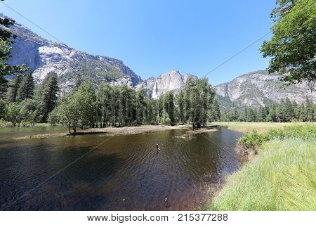 Upper Yosemite Falls in Yosemite National Park. California. USA