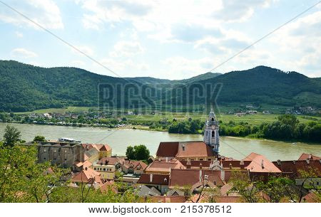 View of the town and Donau river with the castle Dürnstein in the Wachau Krems Austria