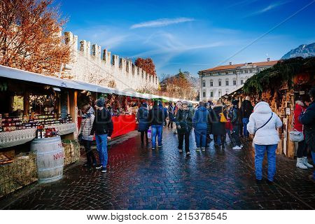 Trento, Alto Adige, Italy - December 17, 2016: Traditional Christmas Market.