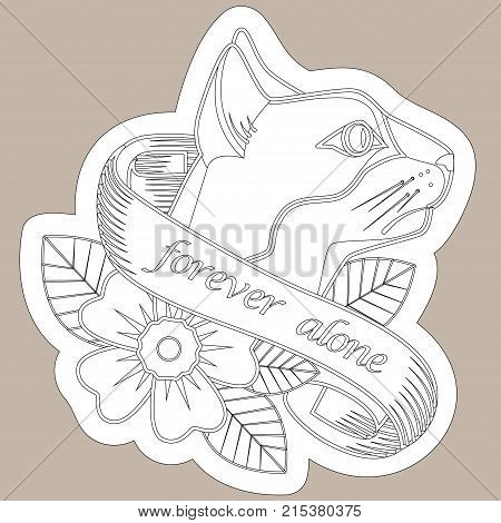 Sketch Of Old School Tattoo. A Sketch Of A Golden Horseshoe Tattoo With Clover Leaves And A Sign Of