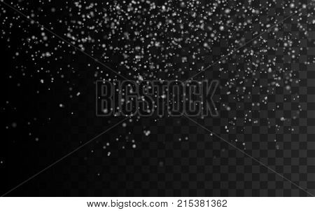 Falling snow overlay texture isolated on black background. Vector illustration. Snowfall or blizzard effect. Decoration element for New Year or Christmas holiday design