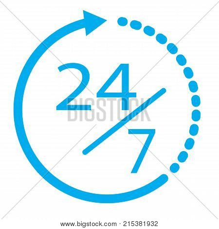 24/7 elements open 24 hours a day and 7 days a week icon. flat icon isolated on white background.