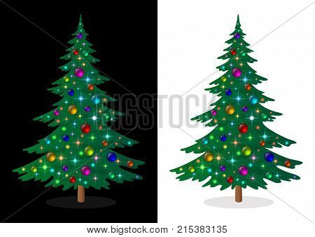 Green Christmas Fir Tree with Bright Colourful Balls and Magic Stars, Holiday Winter Symbol, Isolated on White and Black Background. Eps10, Contains Transparencies. Vector