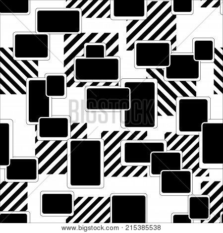 Abstract Seamless Squares Geometric Pattern. Grunge Urban Repeated Squares Backdrop For Boys, Textil