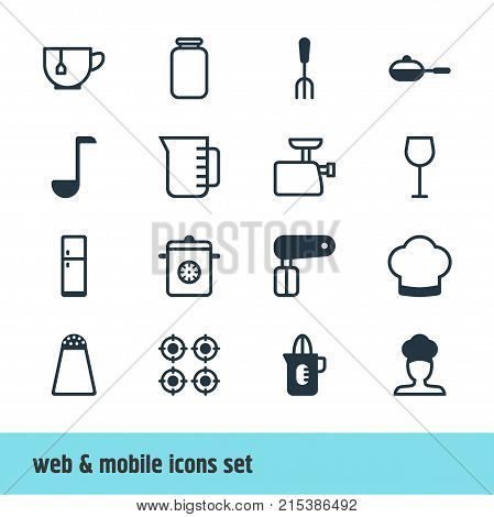 Vector Illustration Of 16 Restaurant Icons. Editable Set Of Furnace, Pepper Container, Shaker And Other Elements.