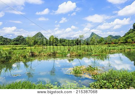 Beautiful mountains and rural scenery in summer, Guilin China.
