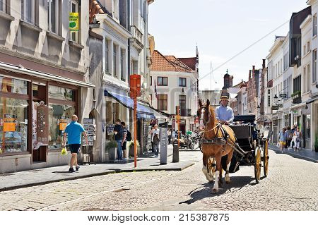 BRUGGE BELGIUM - JUNE 10 2017: The horse vehicle on the street of Bruges. The tourist downtown horse crew for walks and excursions of tourists goes on the ancient street with stone blocks