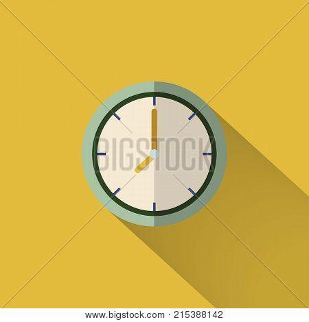 Clock Icon Design. Vector Office Clock Icon With Shadow. Eight O'clock