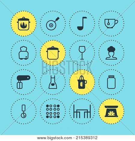 Vector Illustration Of 16 Kitchenware Icons. Editable Set Of Dinner Table, Stewpot, Can And Other Elements.