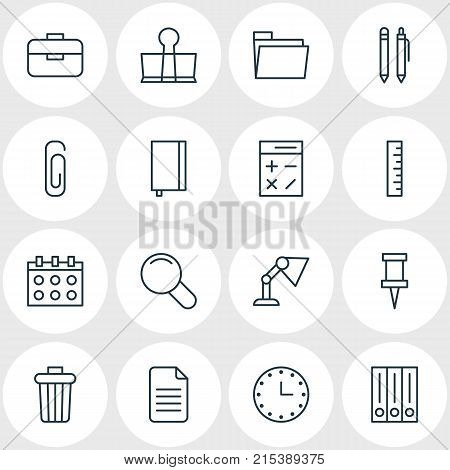 Vector Illustration Of 16 Instruments Outline Icons. Editable Set Of Pencil, Meter, Portfolio And Other Elements.