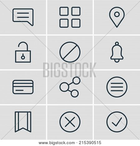 Vector Illustration Of 12 Annex Outline Icons. Editable Set Of List, Pinpoint, Cube And Other Elements.