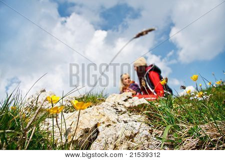 Couple getting relax in the mountain