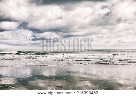Adriatic sea with cloudy sky and strong wind