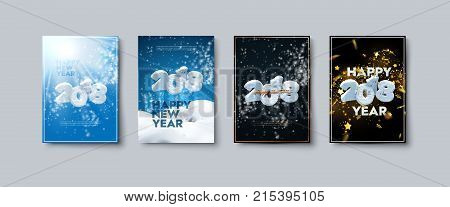 Vector illustration of Happy New Year posters or flyers set. Holiday banners with snowy 2018 numbers, snowdrifts, blizzard, tinsel and confetti. Winter festive decoration. New Year party invitation