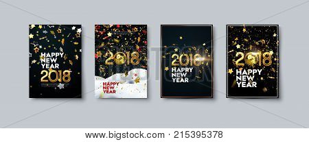 Vector illustration of Happy New Year posters or flyers set. Holiday banners with golden 2018 numbers, disco balls, tinsel and confetti particles. Winter festive decoration. New Year party invitation