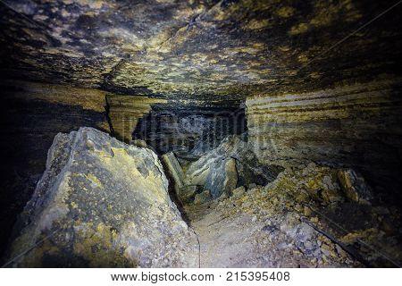 Abandoned and collapsed sandstone or  limestone mine in Sevastopol, Crimea