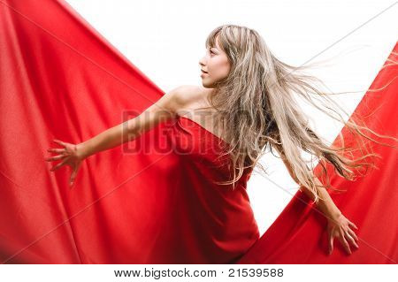 Young girl in a red cloth