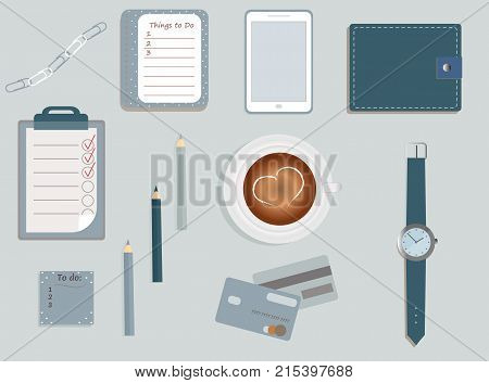 Stationary. A planner. To Di lists. A cup of coffee. Pencils. A wallet. Wrist watch. Credit cards. Mobile phone. Clips. Vector illustration.