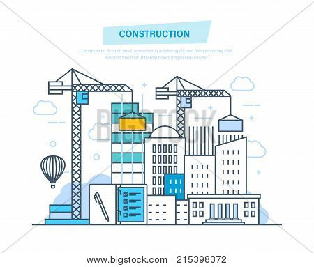 Construction building. Architectural building work process houses with crane, in city and construction machines, with technical equipment, machines. Illustration thin line design of vector doodles.