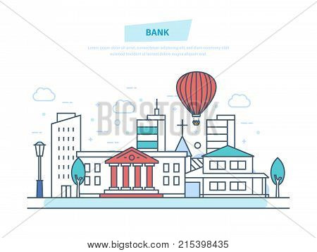 Bank concept. City bank building facade. Financial activity, customer service, work with money. City municipal office building bank. Urban landscape. Illustration thin line design of vector doodles.
